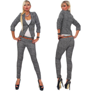 Lesara Damen-Business-Kostüm - Grau - S