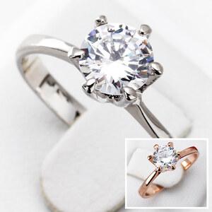 Lesara Damen-Ring mit Zirkonia-Stein versilbert und rosévergoldet - Silber - 55