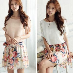 Lesara Kleid mit Blumenrock - Weiß - S