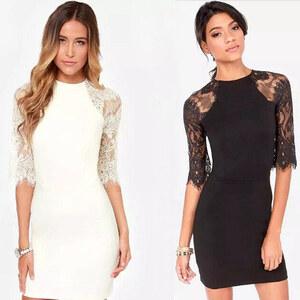 Lesara Damen-Kleid mit Spitze - Weiß - S