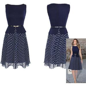 Lesara Damen-Kleid mit Pünktchen - Navy - XS