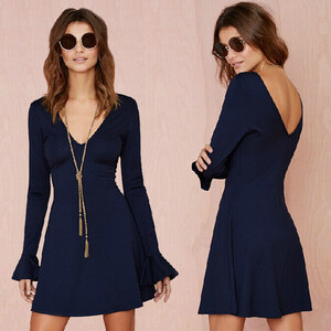 Lesara Damen-Kleid mit tiefem Ausschnitt - Blau - S