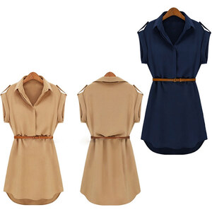 Lesara Kleid mit Gürtel - Braun - L