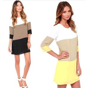 Lesara Damen-Kleid im Blockstreifen-Design - Schwarz - S