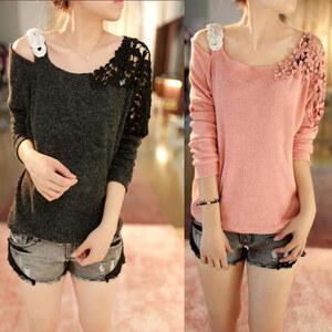 Lesara Damen-Pullover mit Spitze und Strass - Pink - M