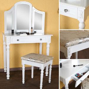 Lesara Ensemble beauté table, miroirs et tabouret