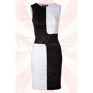 Hearts & Roses 60s Blanc & Noir Color Block Mini Dress