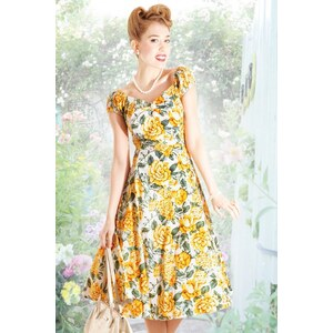 Collectif Clothing 50s Dolores Doll Summer Bouquet Print Dress