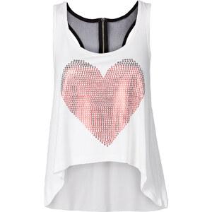RAINBOW Top mit shiny Print und Rückendetail ohne Ärmel in weiß für Damen von bonprix