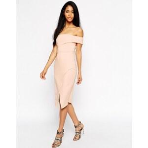 ASOS Asymmetric One Shoulder Bandeau Dress - Nude