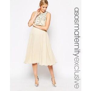 ASOS Maternity - Knielanges Kleid mit verziertem Oberteil - Cremeweiß