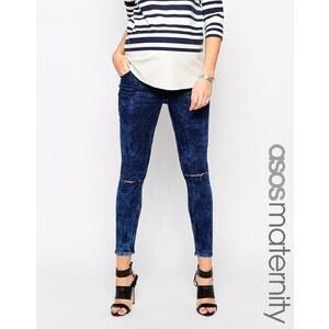 ASOS Maternity - Ridley - Knöchellange, enge Jeans in Acid-Waschung mit zerrissenen Knien - mittlere Waschung