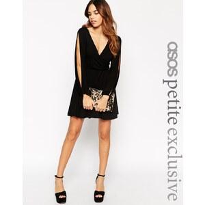 ASOS PETITE - Sexy Wickelkleid mit geschlitzten Ärmeln im Stil der 70er - Schwarz 16,99 €