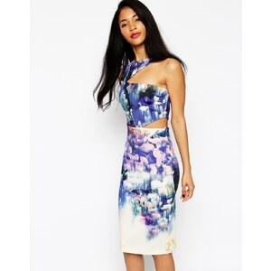 ASOS Premium - Robe moulante asymétrique à fleurs effet flou - Motif floral multicolore