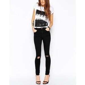 ASOS - Ridley - Schwarze Skinny-Jeans mit Rissen an den Knien - Schwarz