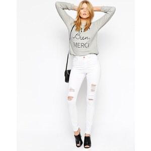 ASOS - Ridley - Weiße Skinny-Jeans im Used-Look mit hohem Bund - Weiß