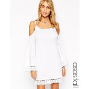 ASOS TALL - Swing-Kleid mit ausgeschnittener Schulterpartie, weiten Ärmeln und Spitzenbesatz - Schwarz