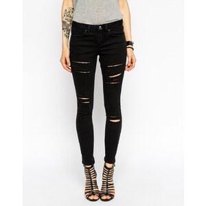 ASOS - Whitby - Knöchellange Low-Rise-Skinny-Jeans mit vielen Rissen - Verwaschenes Schwarz