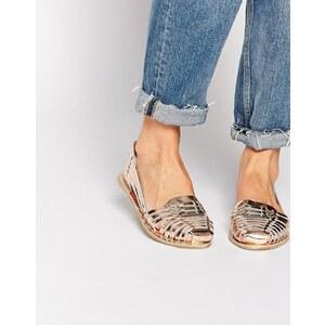 Miss KG - Flache Schuhe aus gewebtem Leder in Metallic-Optik - Gold