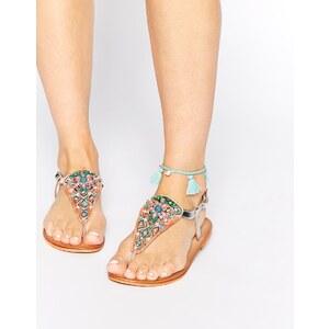 Warehouse - Verzierte, flache Sandalen mit Perlendesign - Mehrfarbig