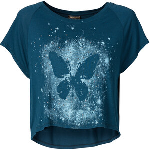 RAINBOW T-shirt oversize à imprimé papillon pétrole manches courtes femme - bonprix