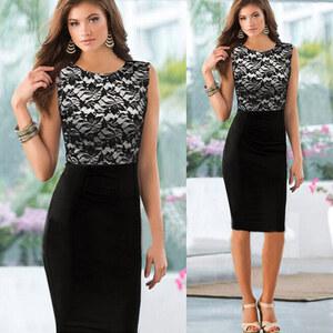 Lesara Cocktail-Kleid mit Spitze - Schwarz - S
