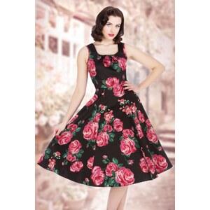 Lady V by Lady Vintage 50s Jasmine Pink Rose Dress in Black