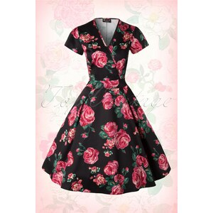 Lady V by Lady Vintage 50s Estella Pink Rose Dress in Black
