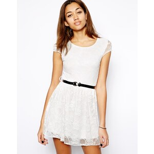 Club L Lace Skater Dress with Belt
