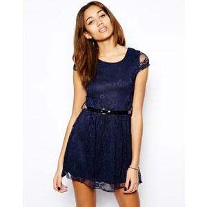 Club L Lace Skater Dress with Belt