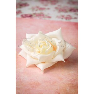 Collectif Clothing 50s A Rose Is A Rose Is A Rose In Ivory Hairclip Brooch