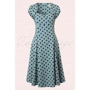 Collectif Clothing 50s Regina Doll Polka Flock Swing Dress Dusky Blue