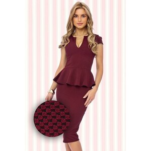 Vintage Chic 50s Carese Peplum Dress in Wine
