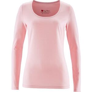 bpc bonprix collection Basic Baumwollshirt Stretch-Jersey langarm in rosa für Damen von bonprix