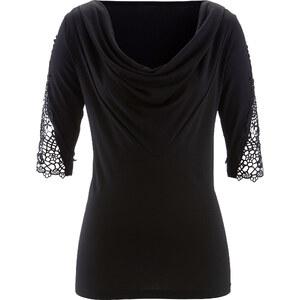 bpc selection T-shirt dentelle noir manches 3/4 femme - bonprix