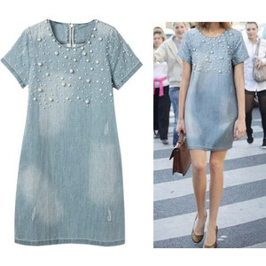 Lesara Jeanskleid mit Perlen-Applikationen - Blau - S