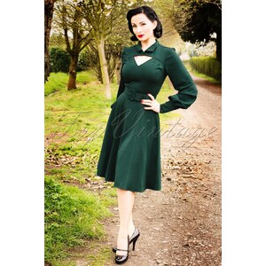 Miss Candyfloss TopVintage exclusive ~ 40s Babette Diamond Swing Dress in Forest Green