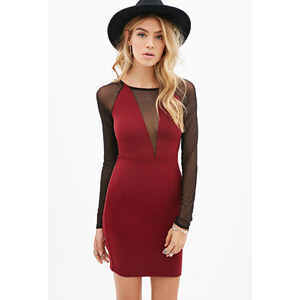 FOREVER21 Bodycon-Kleid mit Mesh-Einsatz