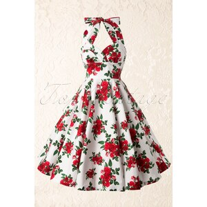 Bunny 50s Retro Halter Cannes Roses Dress in White