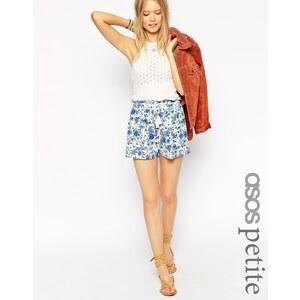 ASOS Petite - Paperbag-Shorts mit Quaste und Blumenmuster - Mehrfarbig