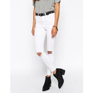 ASOS - Ridley - Knöchellange Skinny-Jeans in Weiß mit Rissen und Abnutzungen - Weiß