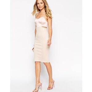 ASOS - Hautenges Bustier-Kleid aus Satin-Mischgewebe - Nude
