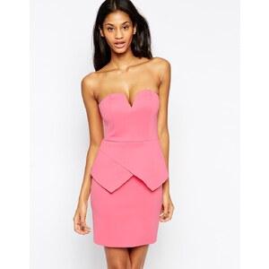 ASOS - Bandeau-Kleid im Neopren-Look mit tiefem Ausschnitt - Kaugummirosa
