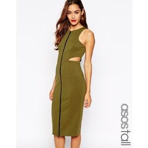 ASOS Tall - Hoch geschlossenes Kleid mit Reißverschluss vorn und seitlichen Aussparungen - Khaki