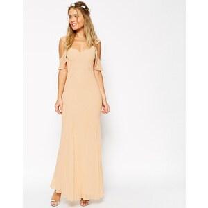 ASOS WEDDING - Maxi robe en biais avec coutures apparentes et manches volantées - Crème