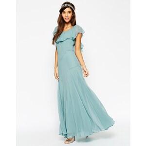 ASOS - WEDDING - Maxikleid mit weichem Rüschensaum - Blau