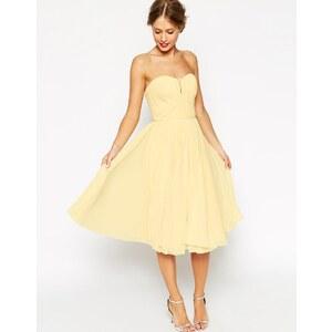 ASOS - WEDDING - Trägerloses Midikleid mit gerüschtem Mieder - Lemon