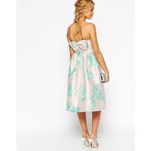 ASOS WEDDING - Strukturiertes Ballkleid mit Zierschleife hinten und mintgrünem Rosen-Print - Druck