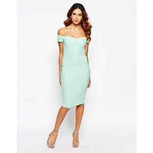 Lipsy - Strukturiertes Kleid mir Bardot-Ausschnitt - Mint