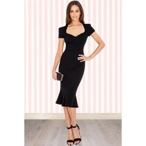 Vintage Chic 50s Demure Pencil Dress in Black